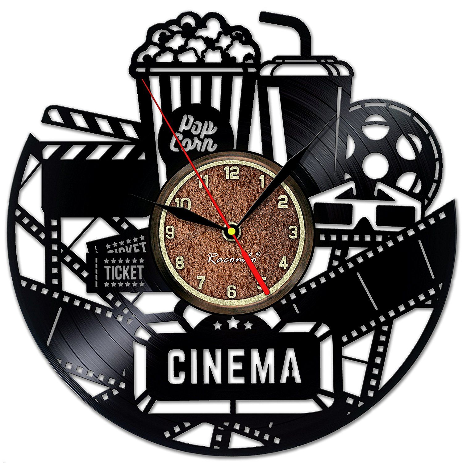 Cinema and Popcorn Vinyl Record Clock - Game Room Wall Decor by ...