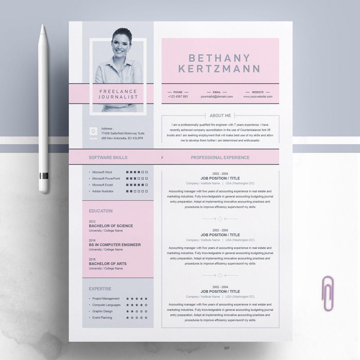 Epingle Sur Resume Design Template