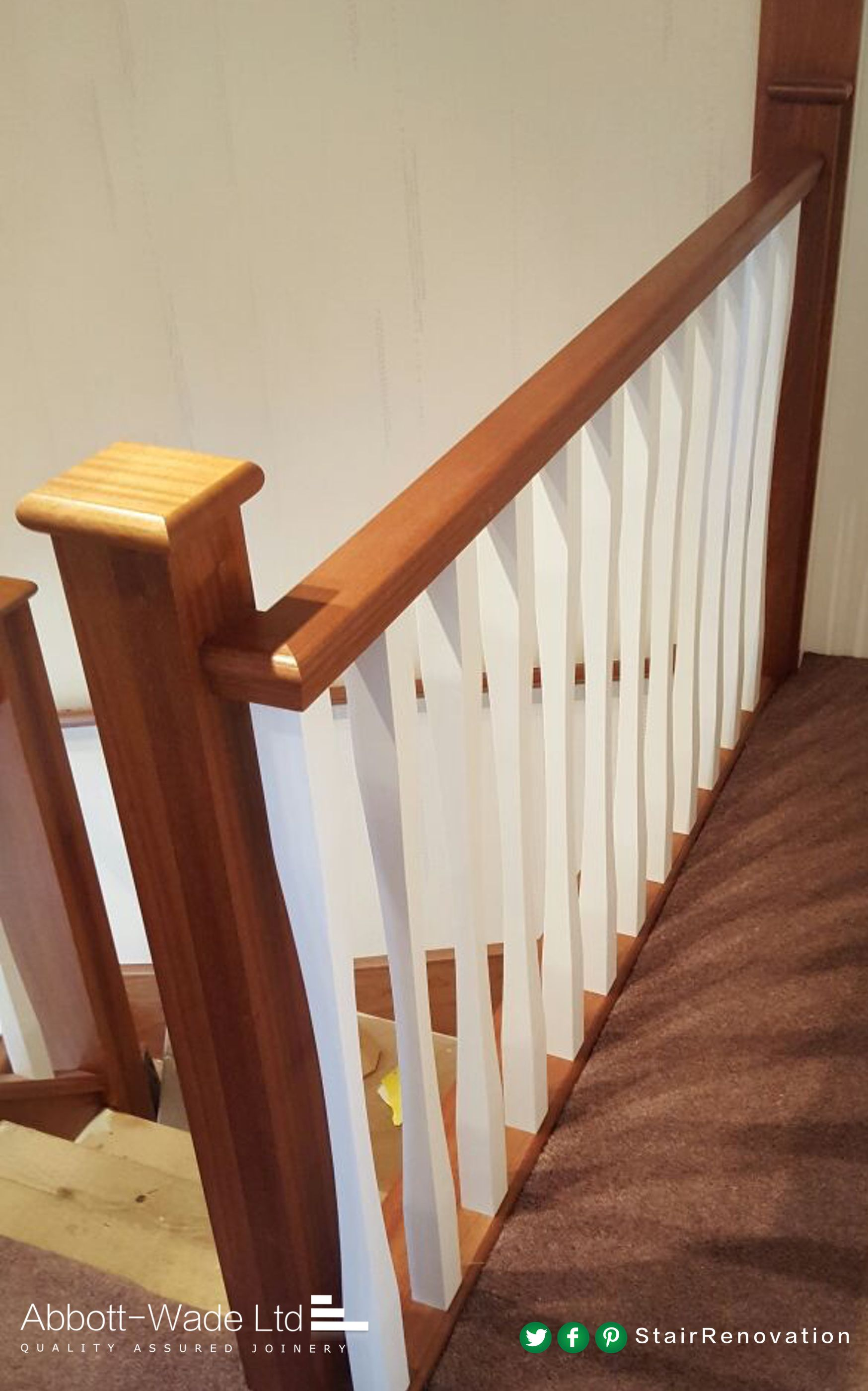 Best Sapele Posts And Rails With Sleek White Spindles Stair 400 x 300