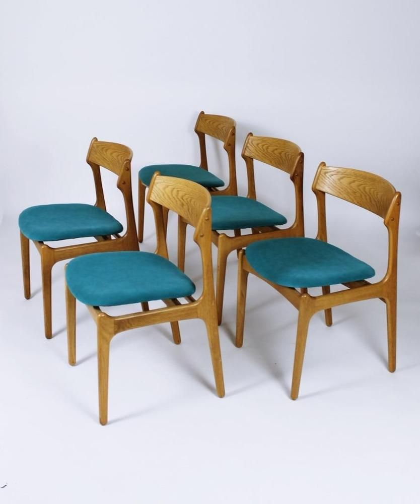 Vintage Danish Model 49 Dining Chairs by Erik Buch for O D M¸bler