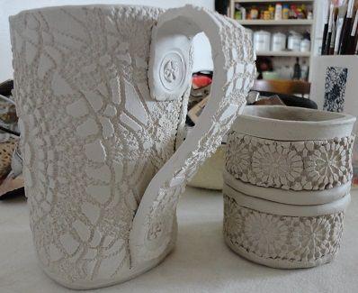Handmade mug, cup and plate