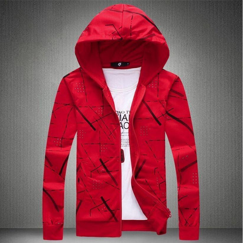 Pánská podzimní zimní stylová mikina na zip s kapucí – červená – Velikost L  Na tento produkt se vztahuje nejen zajímavá sleva b5fef7f65f8