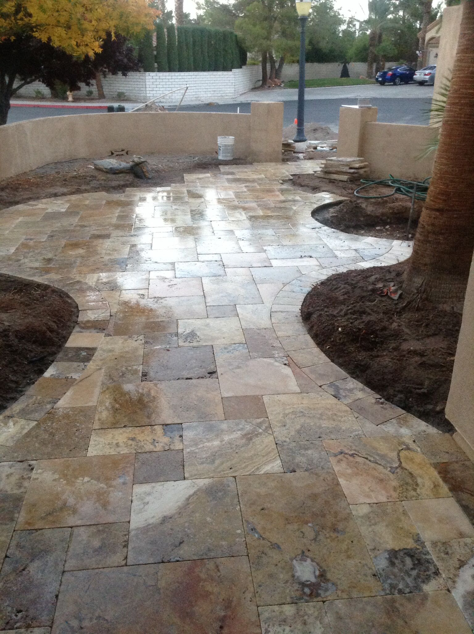 Travertine walkway. View from the front door looking out | Front ...