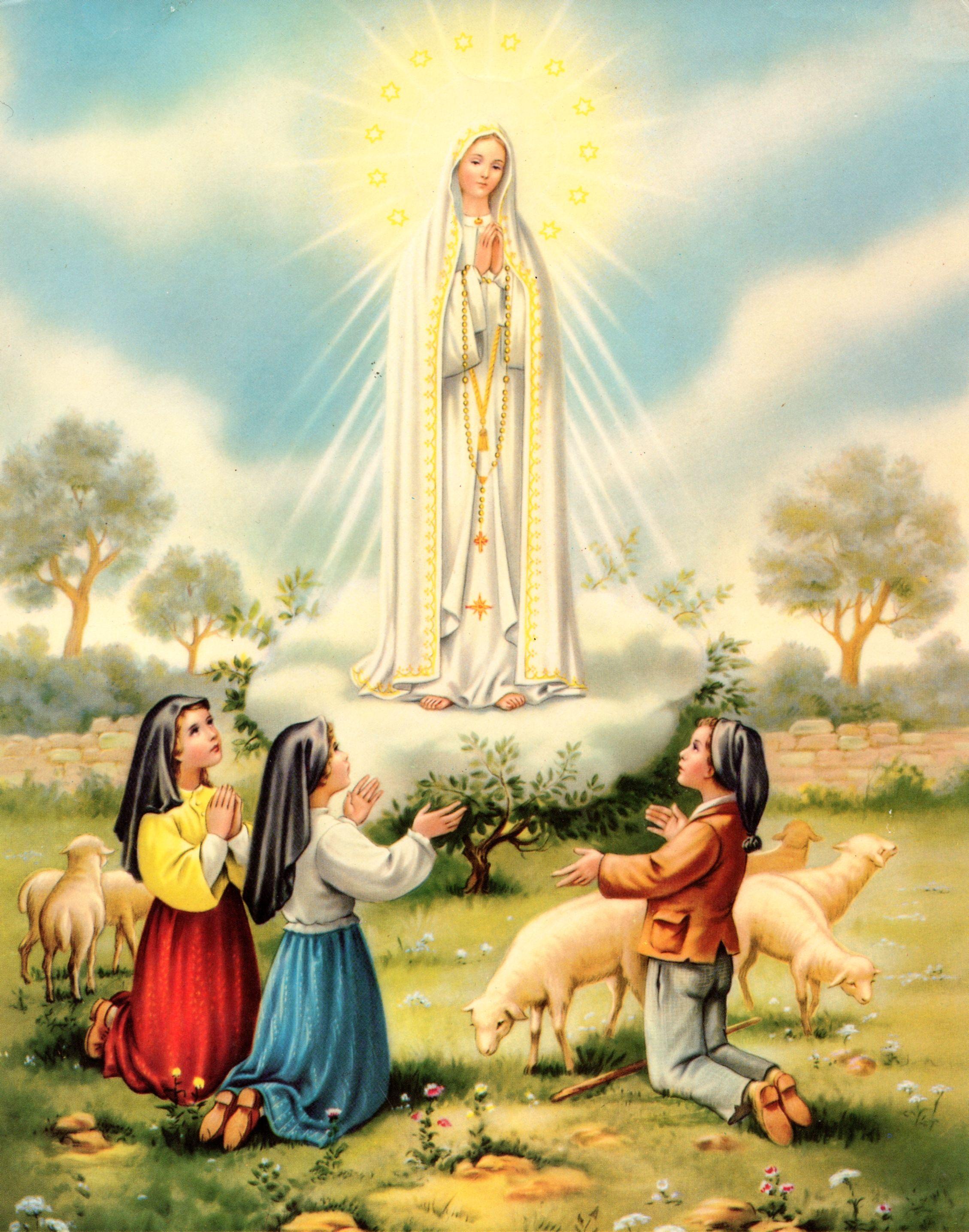 Nuestra Senora De Fatima Con Los Tres Pastorcitos De Cova De Iria