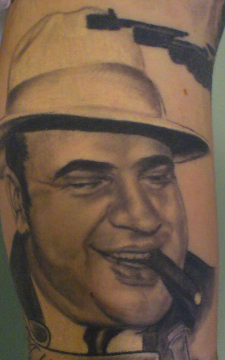 Al capone portrait by christy brooker damask tattoo