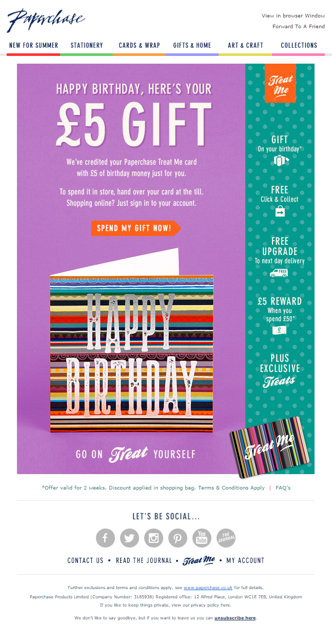Birthday Gift Email From Paperchase EmailMarketing Marketing Free Special Occasion Engagement Retail