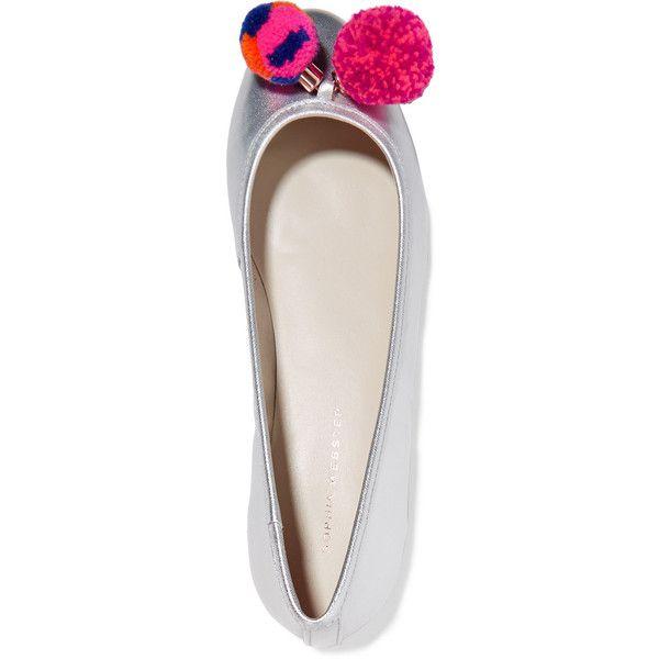 Sophia Webster - Bo Pompom-embellished Metallic Leather Ballet Flats ($163) ❤ liked on Polyvore featuring shoes, flats, leather flats, embellished flats, ballet shoes, leather flat shoes and leather shoes