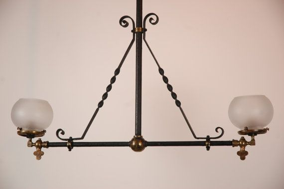 Vintage Gas Lamp Style Pendant Light Ceiling Hanging Lighting Br And Black Metal Frosted Shades Original Antique