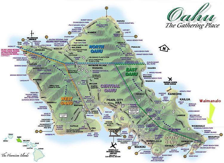 Map of Oahu, Hawaii. | Hawaii | Oahu beaches, Oahu, Ewa beach