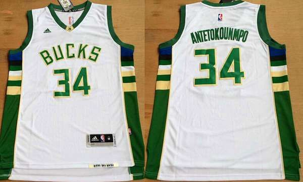 54e33a0eefef Men s Milwaukee Bucks  34 Giannis Antetokounmpo Revolution 30 Swingman 2015  New White Jersey
