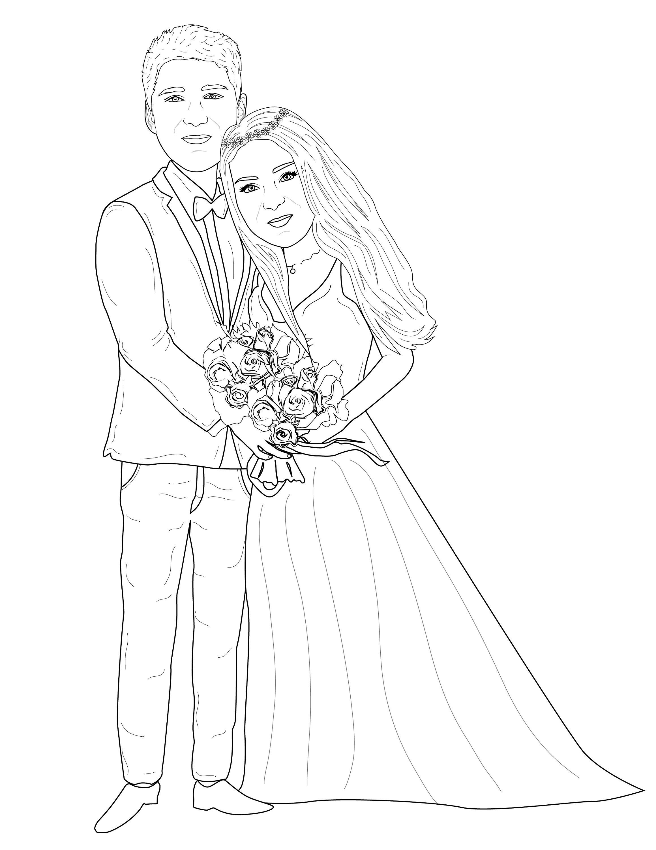 Custom Line Portrait Couple Line Drawing Pet Line Drawing