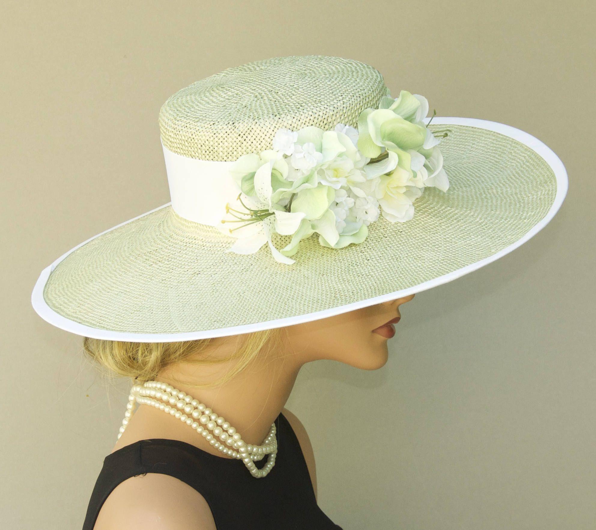 e513472e Wedding Hat, Wide Brim Hat, Church Hat, Derby Hat, Mint Green Hat, Formal  hat, Garden Party Hat, Tea Party Hat, Women's Pale Green Straw Hat