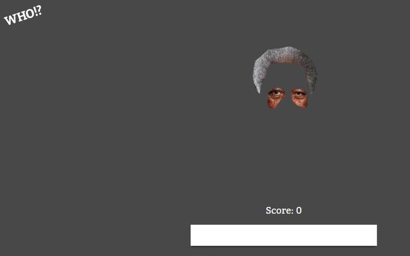 Who!? es un sencillo juego de navegador que nos propone descubrir a 10 personajes famosos o celebridades a partir de sus siluetas o partes de su rostro.