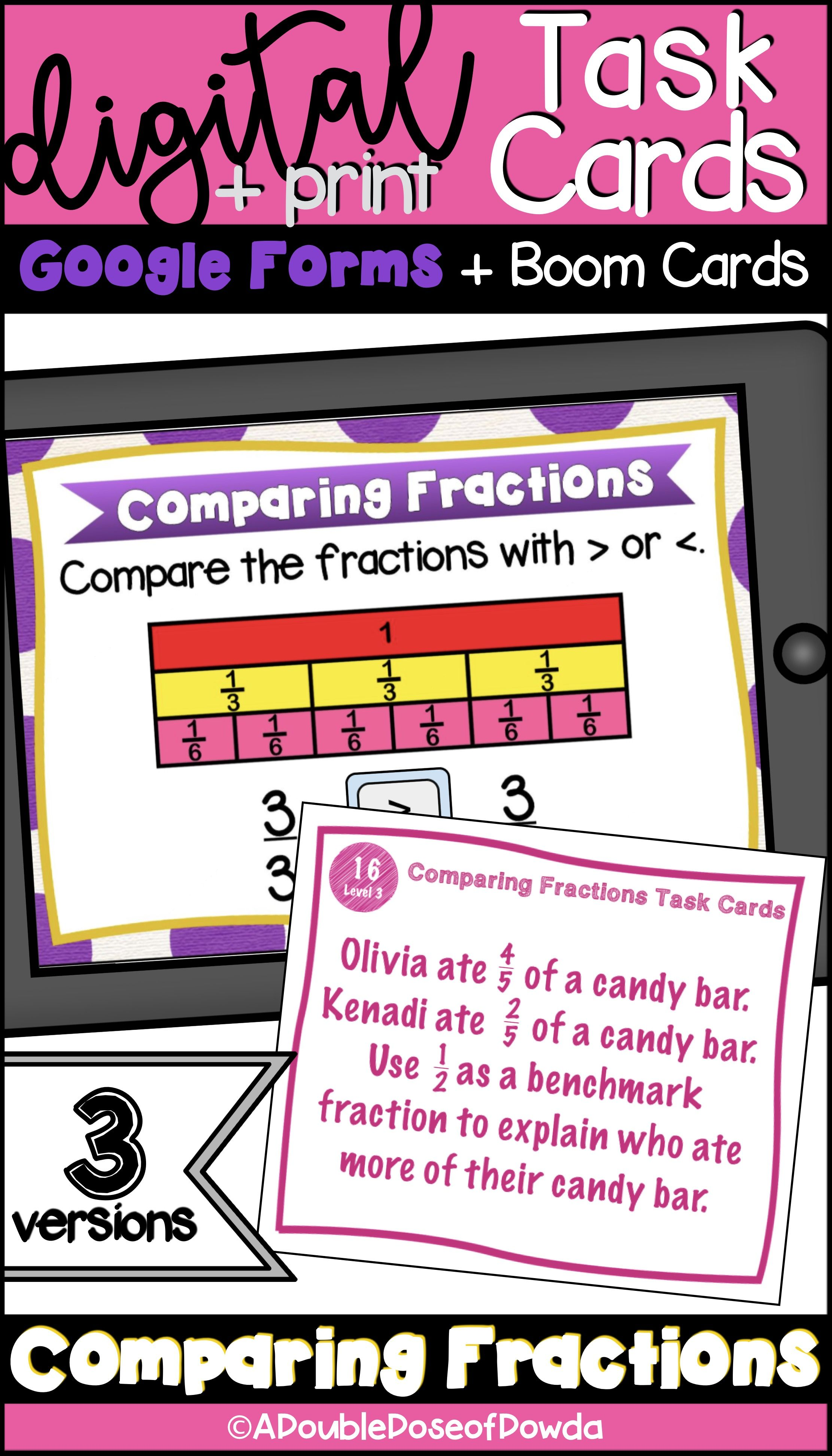 Students Practice Solving Comparing Fractions Problems