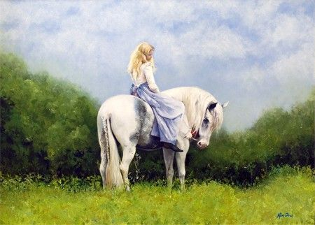 Untitled original portrait figurative woman and horse by KimDow, $5000.00