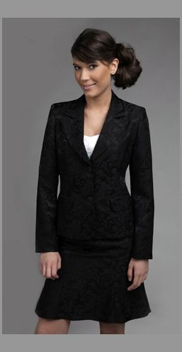 Women's suit - a-line skirt balances full chest ...