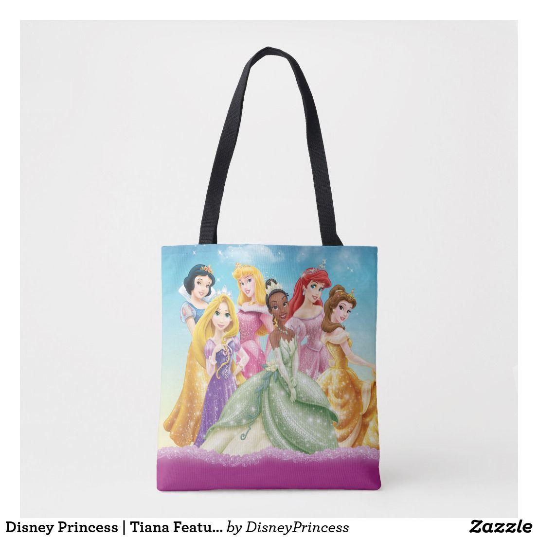 Disney Princess Tiana Featured Center Tote Bag Zazzle Com Disney Princess Tiana Disney Princess Bags Disney Princess Gifts