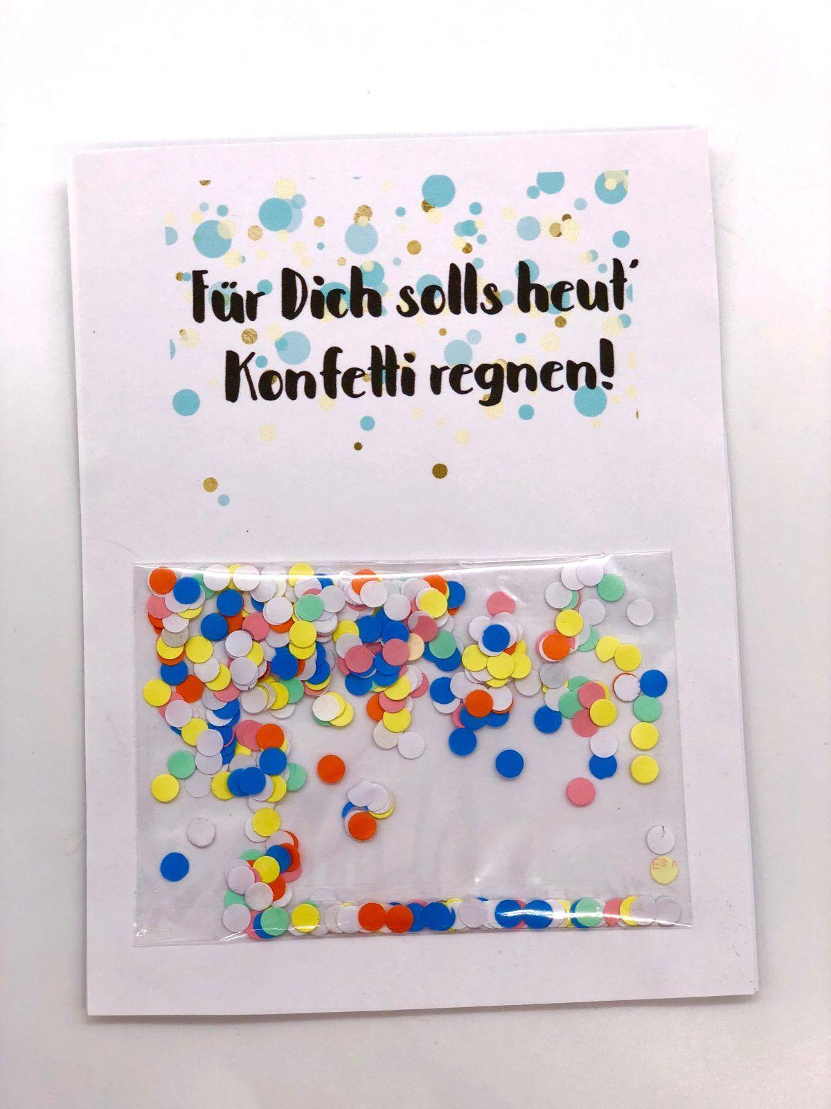 Geburtstagskarte zum Ausdrucken selber machen mit Konfetti #diygeburtstagsgeschenke