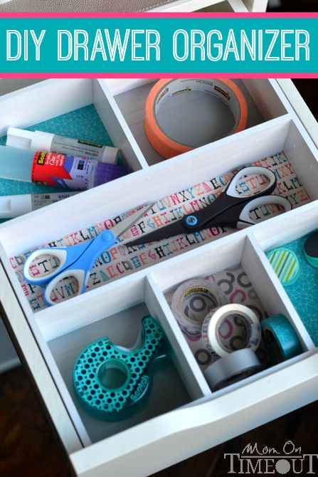 Ideas : Add a pop of color and organization to those messy drawers with this DIY Drawer Organizer! | MomOnTimeout.com #ScotchEXP #sponsored