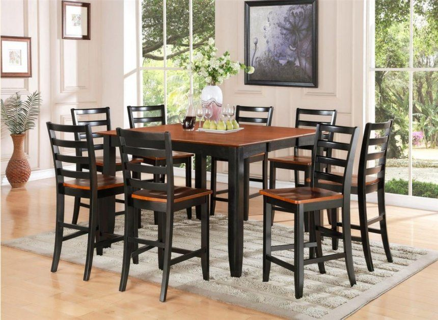 9 Piece Counter Height Dining Set Espresso Bar Kitchen Table White