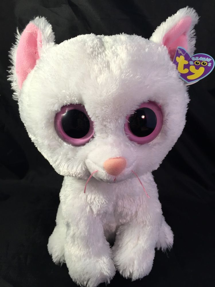 3fe2d360581 Ty Beanie Boos Cashmere The White Cat Solid Eye Medium 9 inch Tag ...