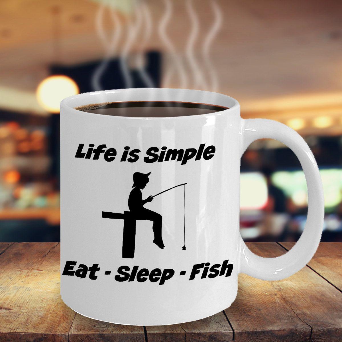 Coffee Mug Gift for Fisherman Love Fishing by