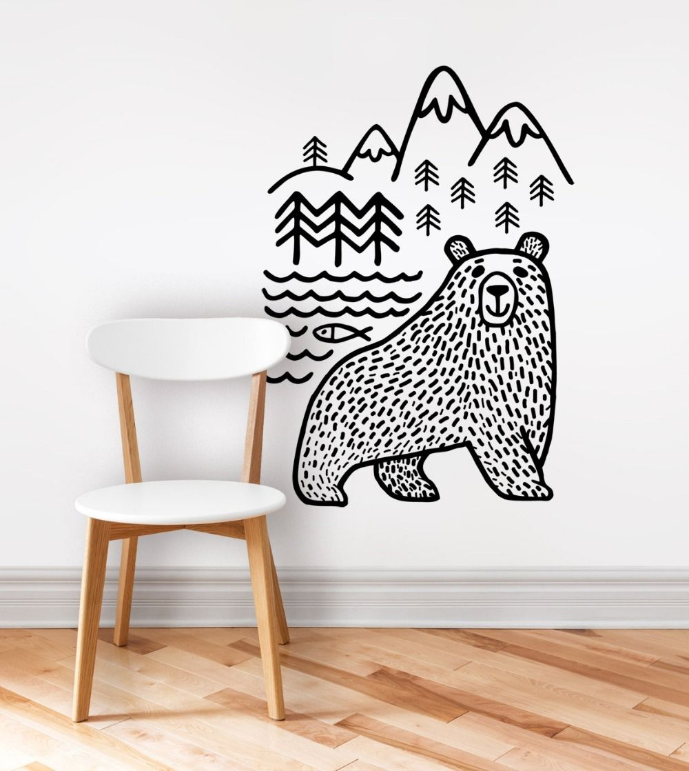 Large black bears fish mountain wall sticker art decals diy home large black bears fish mountain wall sticker art decals diy home decor new design vinyl wall amipublicfo Choice Image