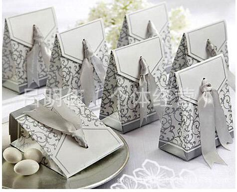 100pcs FREE Shipping China Post Golden And Silver Color Wedding Candy Box Gift