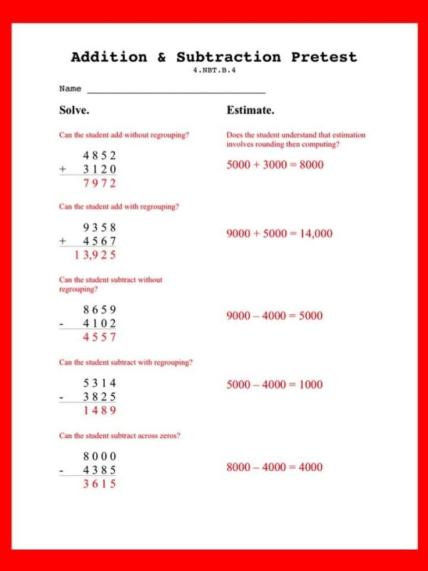 Grab This Free Pretest To Assess NbtB Adding Without