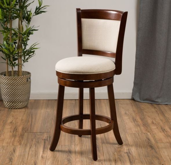 Modern 24 Inch Fabric Swivel Back Counter Height Stool Wood Bar Kitchen Chair Wood Bars Bar