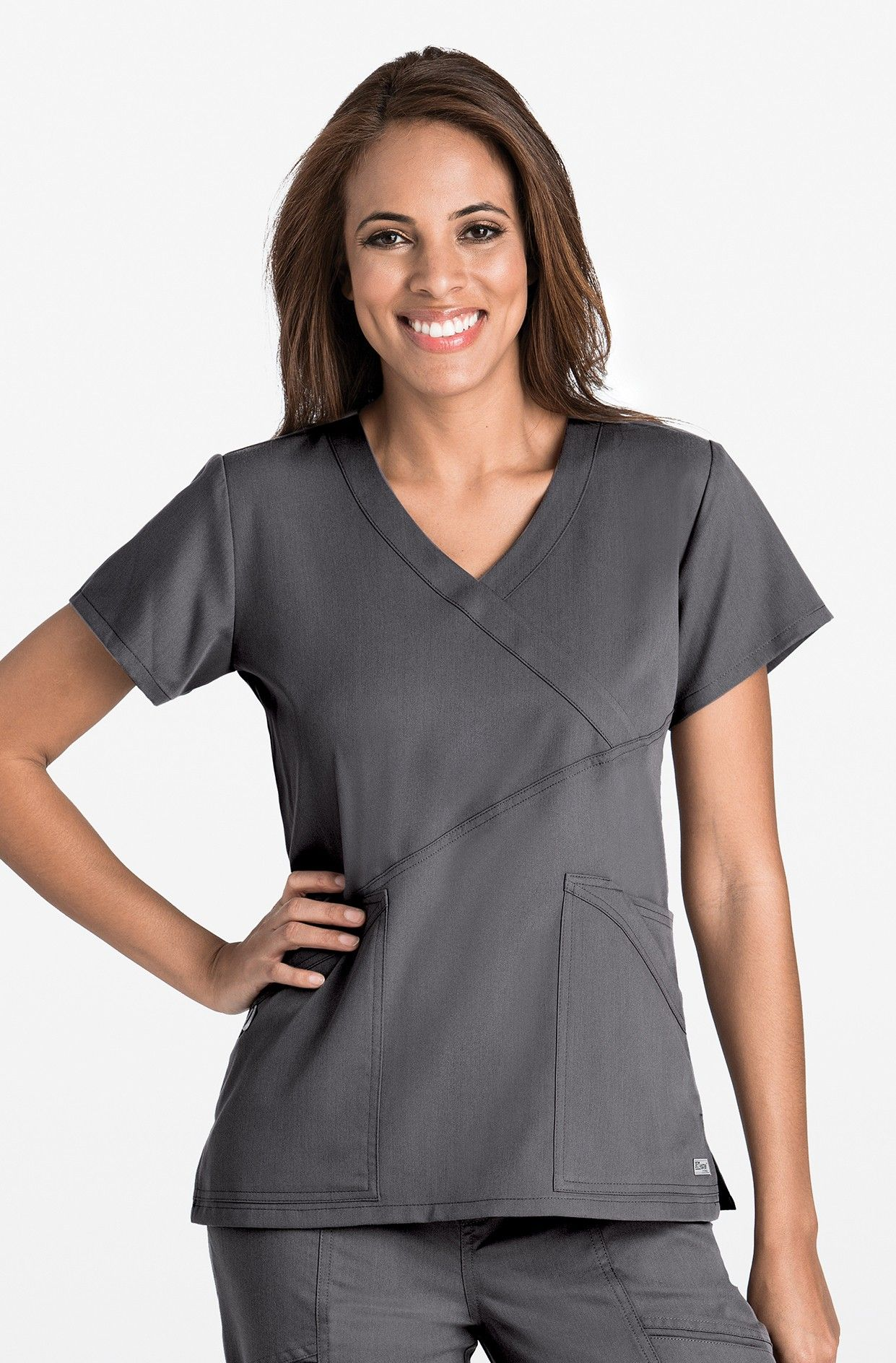 af1d9431621 3-Pocket Criss-Cross Mock Wrap Top | Grey's Anatomy by Barco | Tops ...