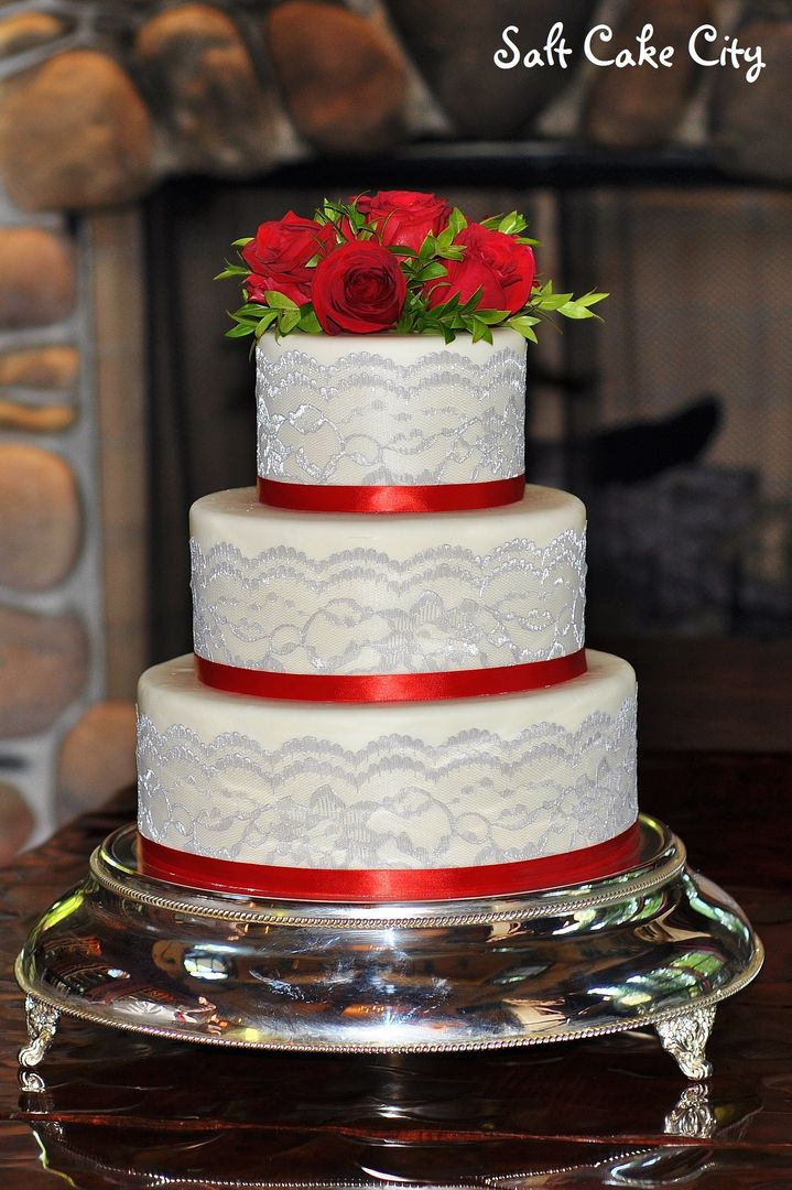 Salt Cake City (www.SaltCakeCity.com) white wedding cake with gray lace and red ribbon Wedding Cake