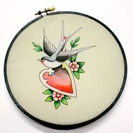 bird and heart tattoo flash wall art in exclusive artistic collaboration with Sebastian Orth and Catherine Masi designer of bridal and everyday accessories / Shop