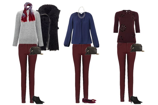 Christmas capsule wardrobe- luxury option red jeans and cashmere, silk and embellished tops