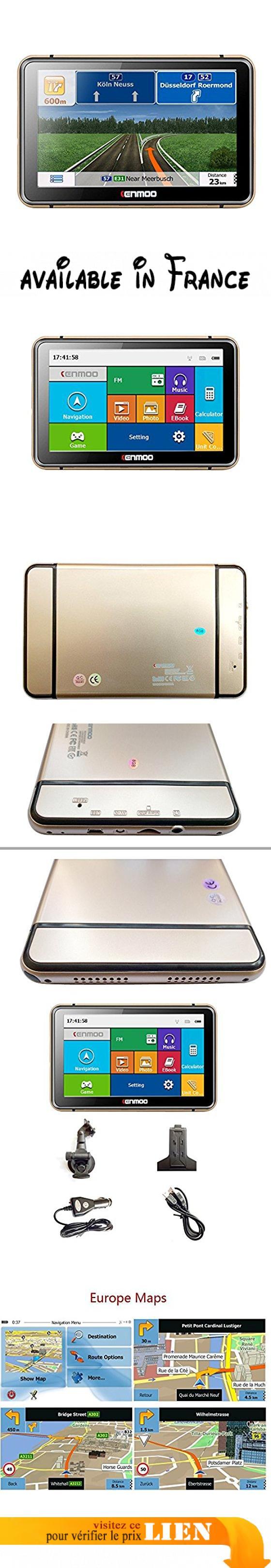 Kenmoo 17,8cm 8Go LCD TFT écran tactile GPS de voiture Navigation GPS pour voiture/camion britannique Cartes Europe. Ajoutez la carte du camion/camion, carte de visualisation 3d. 17,8cm TFT LCD résolution: 800rgb (H) x 480(V) Écran tactile SAT NAV rue préchargé avec des cartes de toute l'Union européenne. 8Go de mémoire intégrée, carte TF: un maximum de 32Go (TF carte n'est pas inclus). Affichage des cartes variable: choisissez de navigation