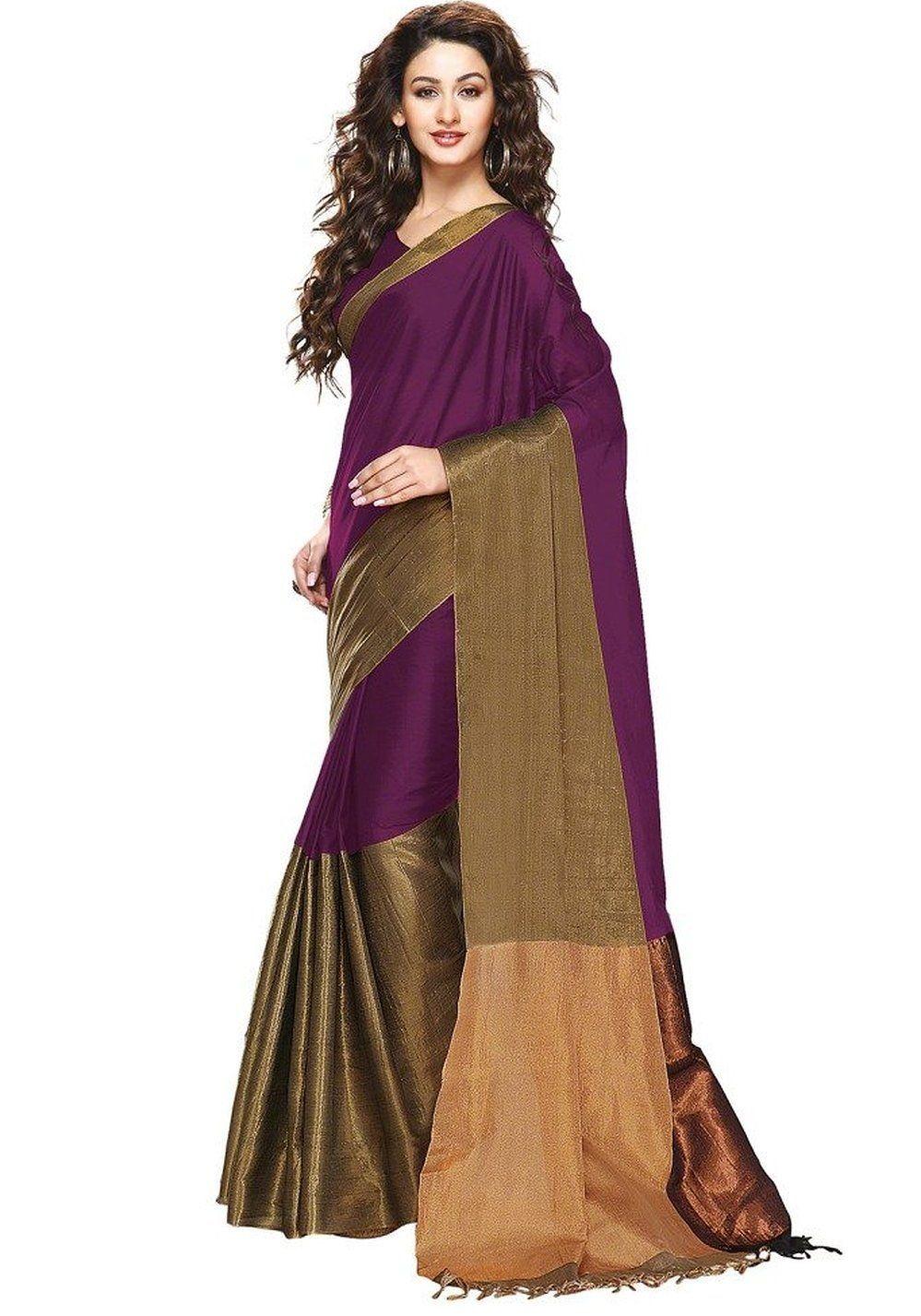 cb4cbf5dc8 Wine Color Cotton Silk Saree   Colorful Sarees   Designer silk ...