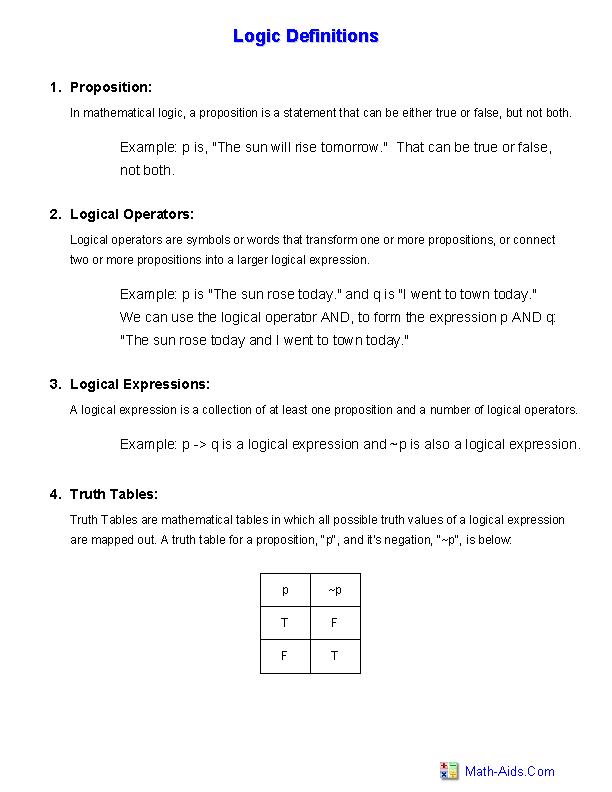 Statement Form Logic 9 Unconventional Knowledge About Statement Form Logic That You Can T Le Logic Logic Definition Handouts