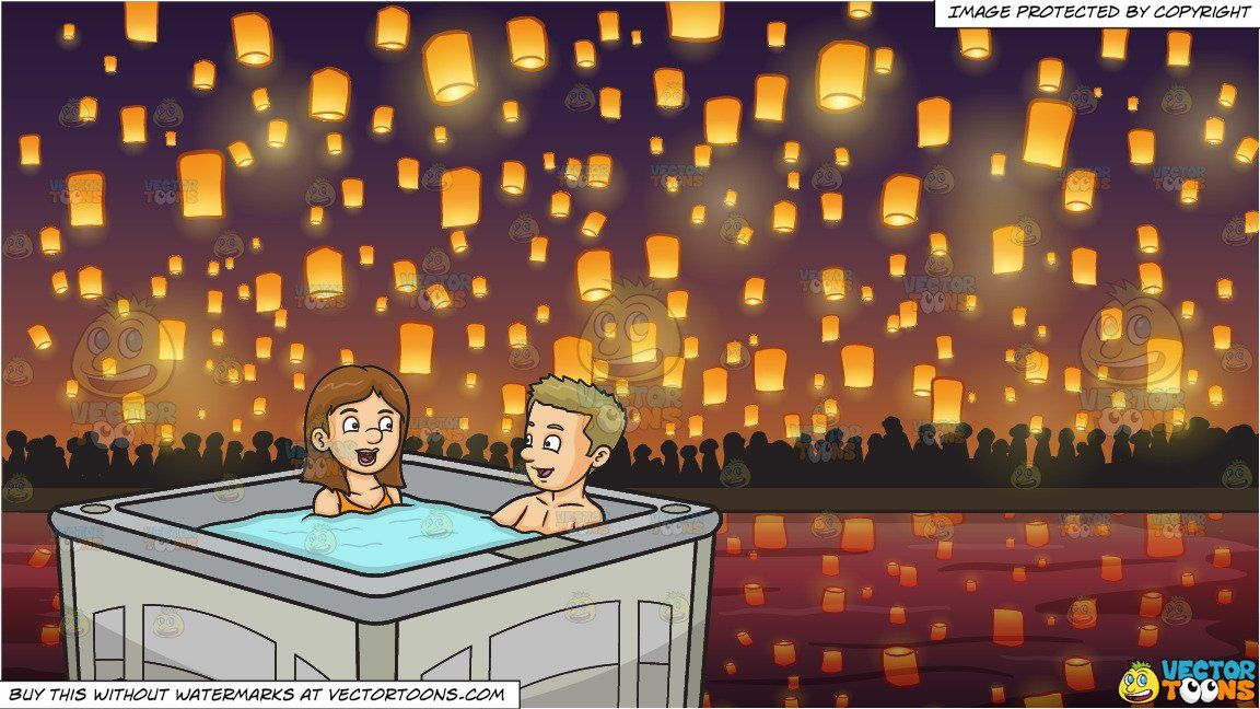 A Couple Chats While Enjoying Their Hot Tub Dip and Flying Paper Lanterns At