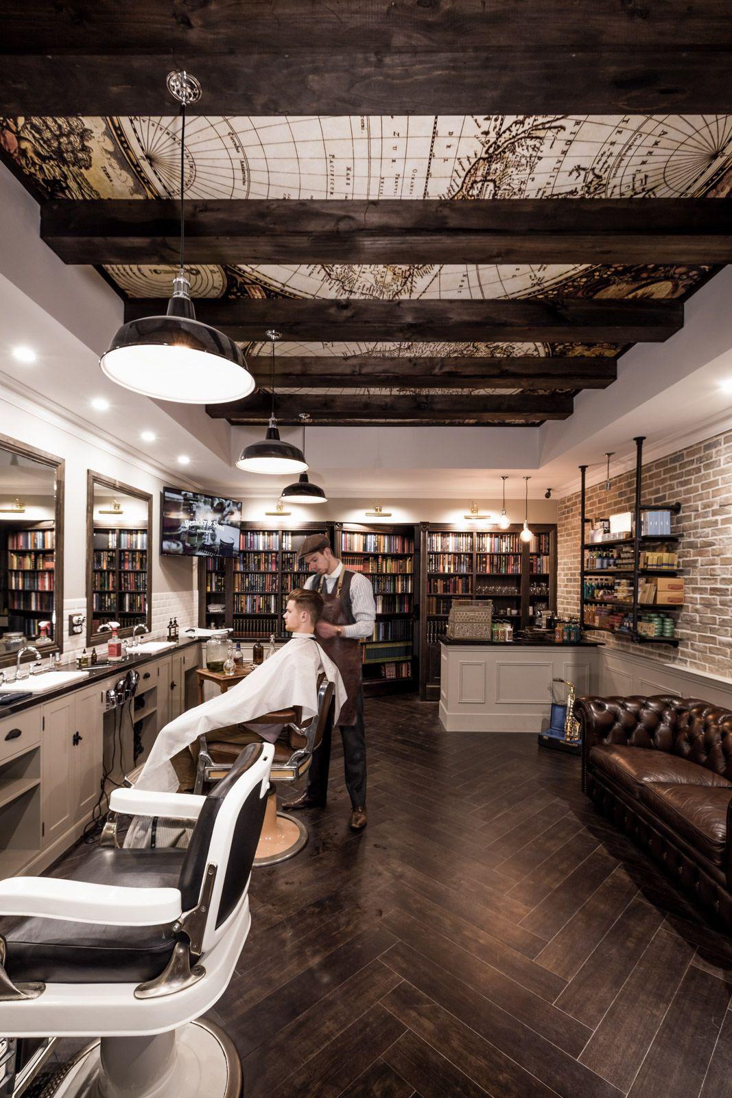 Danielmalik design portfolio interior design of benicky sons traditional barber shop in - Barber shop interior ...