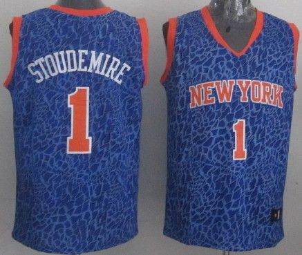 a5493bbe4cb New York Knicks  1 Amare Stoudemire Blue Leopard Print Fashion Jersey