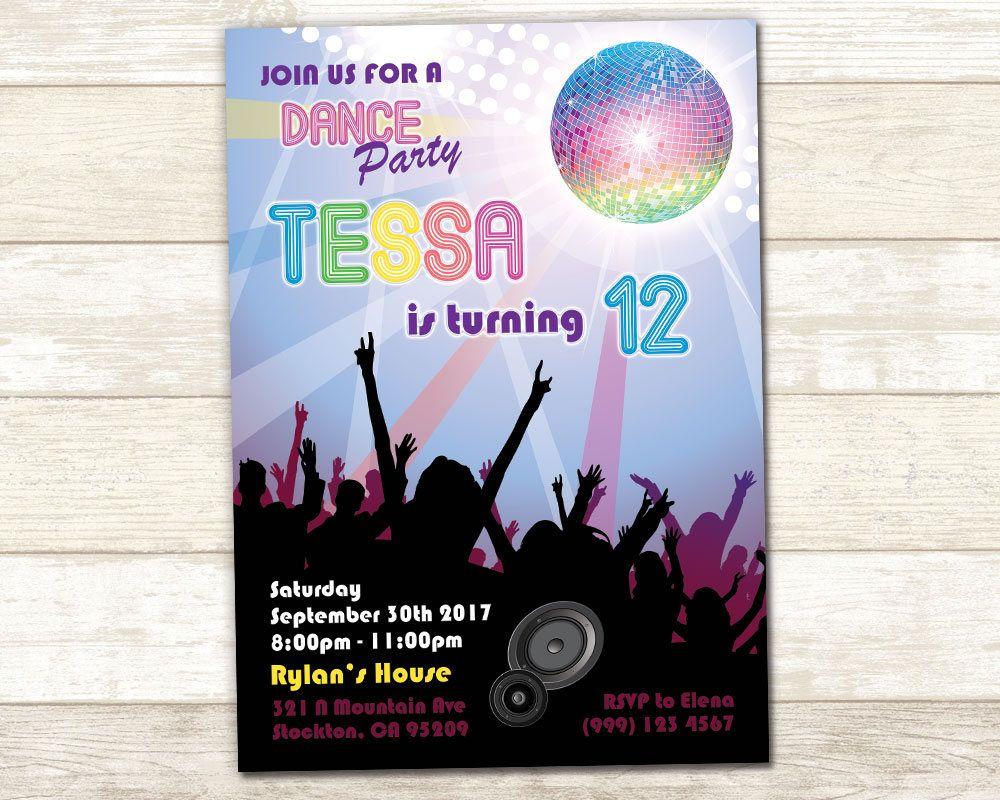 Dance Birthday Invitation - Dance Birthday Invite - Disco Party ...