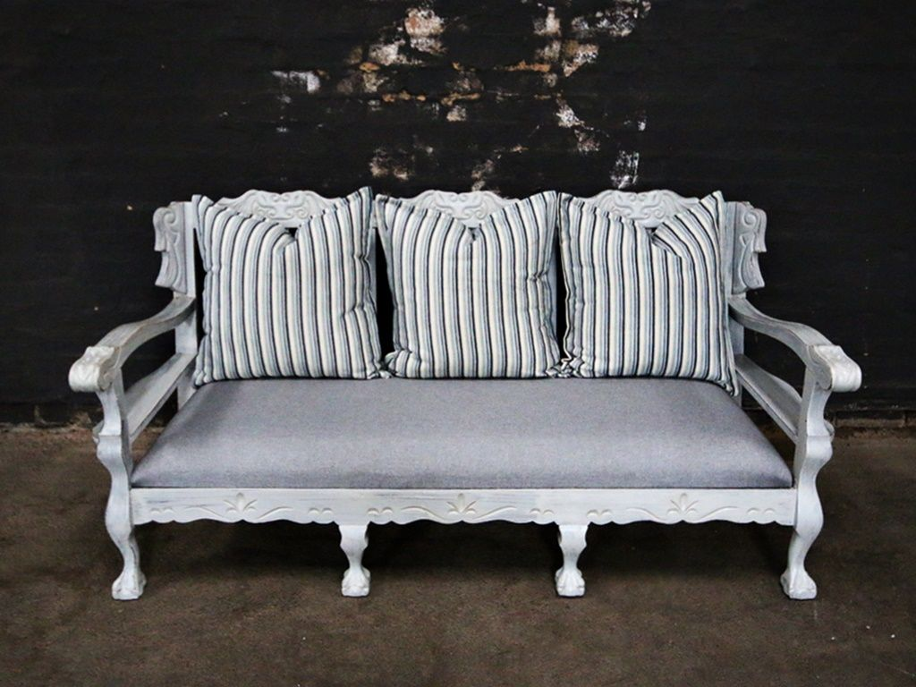 Striped Ball And Claw Set Wooden Couch Sofa Makeover Furniture Sofa Set