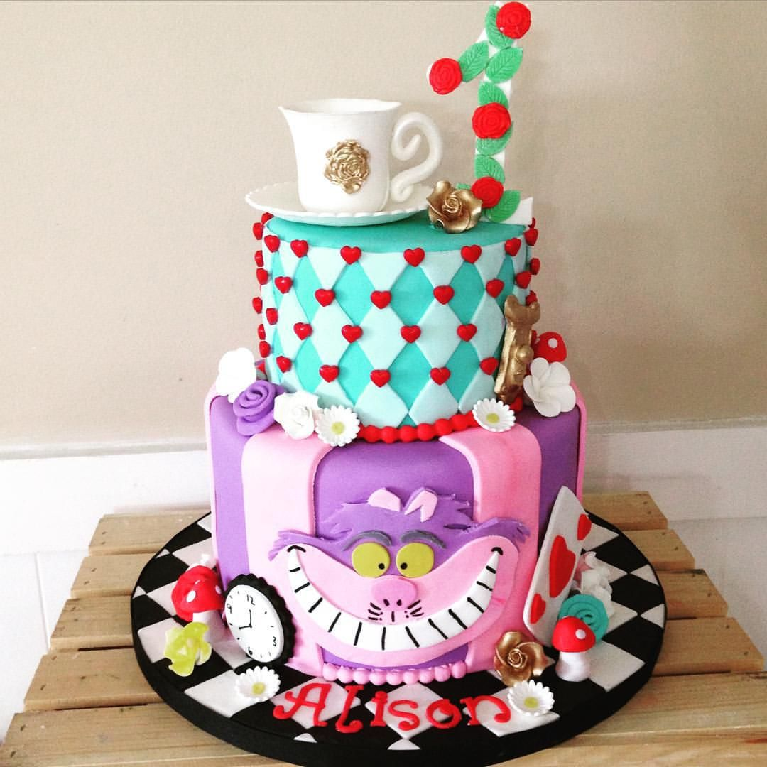 Pink & Purple Cheshire Cat With Red & Turquoise Harlequin