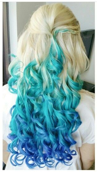 Katelsmac Blonde Blue Ombre Dyed Curly Hair Katelsmac Colored