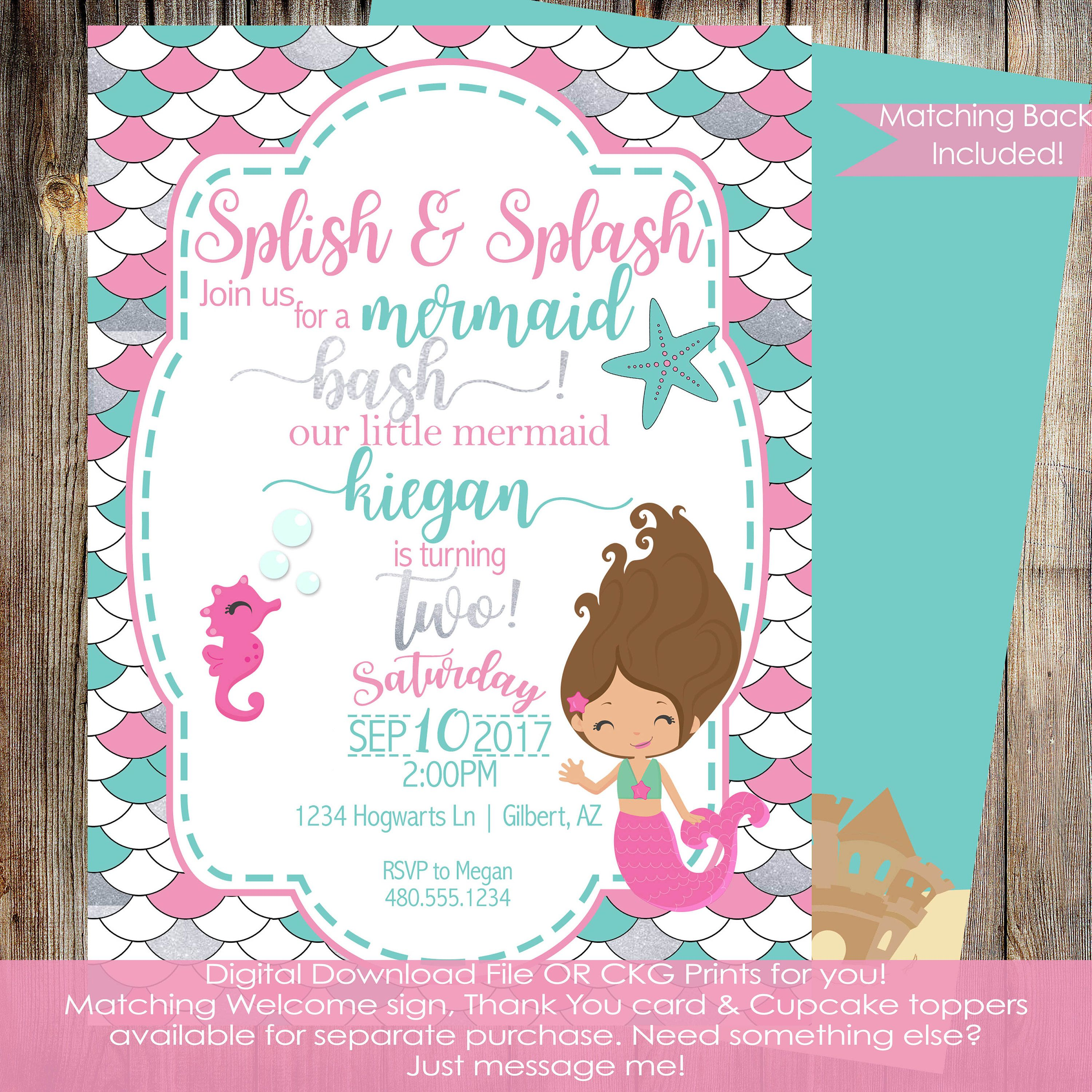 mermaid birthday invitation under the sea invitation girls