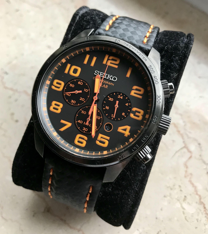 Seiko Sport Solar Chronograph Ssc233 Black And Orange Dial Eye