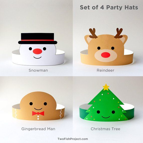 Christmas Party Hats for Kids/Adults, Christmas Paper Crowns/Headbands, Printable Party Props Activi