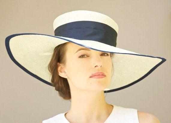 Wide Brim Hat Cream Off White Navy Blue Wedding Formal