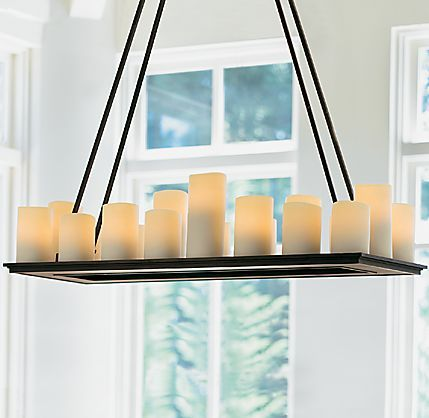 I just adore this chandelier im going to try and make it someday restoration hardwares pillar candle rectangular small chandeliernatural looking faux candles in different shapes and sizes create a welcoming ambience mozeypictures Image collections