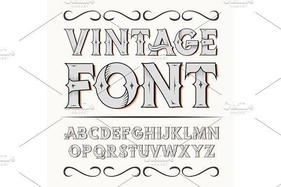Vintage label font. Alcogol label style.. Illustrations